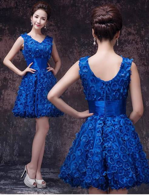 Elegant V Neck Flowers Semi Formal Dresses Ball Gown Short