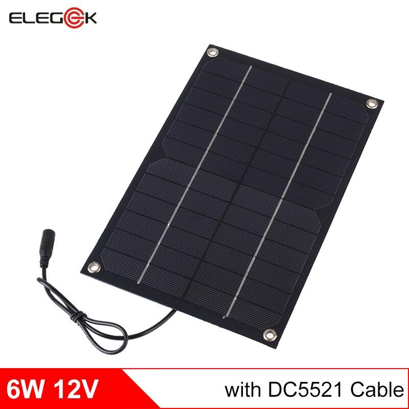 Elegeek 12 V 6 W semi panel solar flexible cargador para 12 V batería salida DC cargador del panel de batería solar 12 V 500mA
