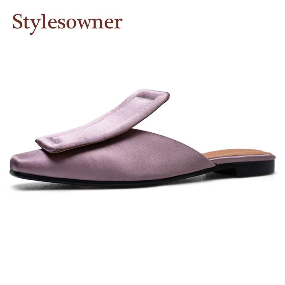 Stylesproprio carré couverture orteil femmes pantoufles luxe soie carré boucle 1 cm 5 cm talon mules chaussures mode rue snap demi pantoufles