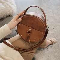 Vintage gommage cuir rond Designer sac à bandoulière pour femmes 2019 PU cuir sacs à bandoulière dames petits sacs à main Mini sac fourre-tout