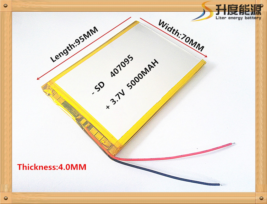 3.7V 5000mah (polymer lithium ion battery) Li-ion battery for tablet pc 7 inch MP3 MP4 [407095] replace  [357095] High capacity on polymer battery 3 7v 502030 ext mp3 shaking his stick bluetooth watch 052030 lithium battery