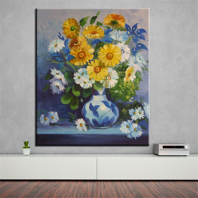 No frame home printed vase of blue and yellow flower oil painting no frame home printed vase of blue and yellow flower oil painting canvas prints wall art mightylinksfo