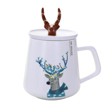 450ml Creative 3D Animal Deerhorn Coffee Ceramic Mug Cup With Lid Handgrip Milk Breakfast Water For Lovers Student Gift