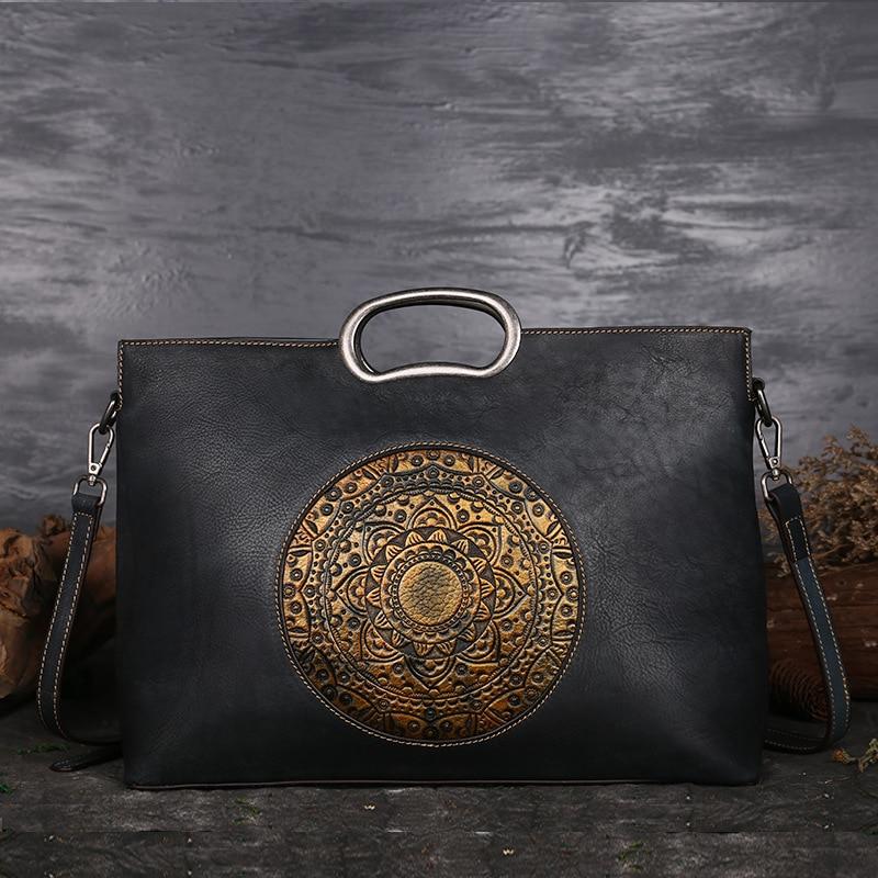 2018 New Vintage Women Genuine Leather Handbags Ladies Retro Elegant Shoulder Messenger Bag Cow Leather Handmade