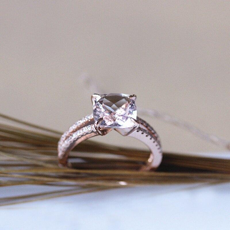 Дюпюи 2018 Новый Лидер продаж двойной кольца кольцо Морганит Подушки с 8 мм морганит Обручение кольцо украшения для Для женщин F0069MO