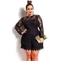 Lady Macacao Feminino 2016 Black Plus Size Long Sleeve Lace Romper Autumn Jumpsuit 60599 Body Suits