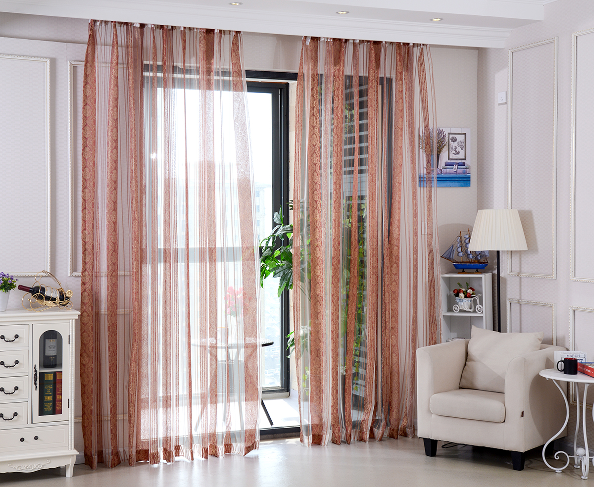 MYRU High Quality Embroidered Sheer Curtains, Red Striped Window Curtain  For Living Room,Bedroom