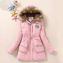 Winter plus velvet accept waist big yards long section of thick warm padded cotton hooded jacket