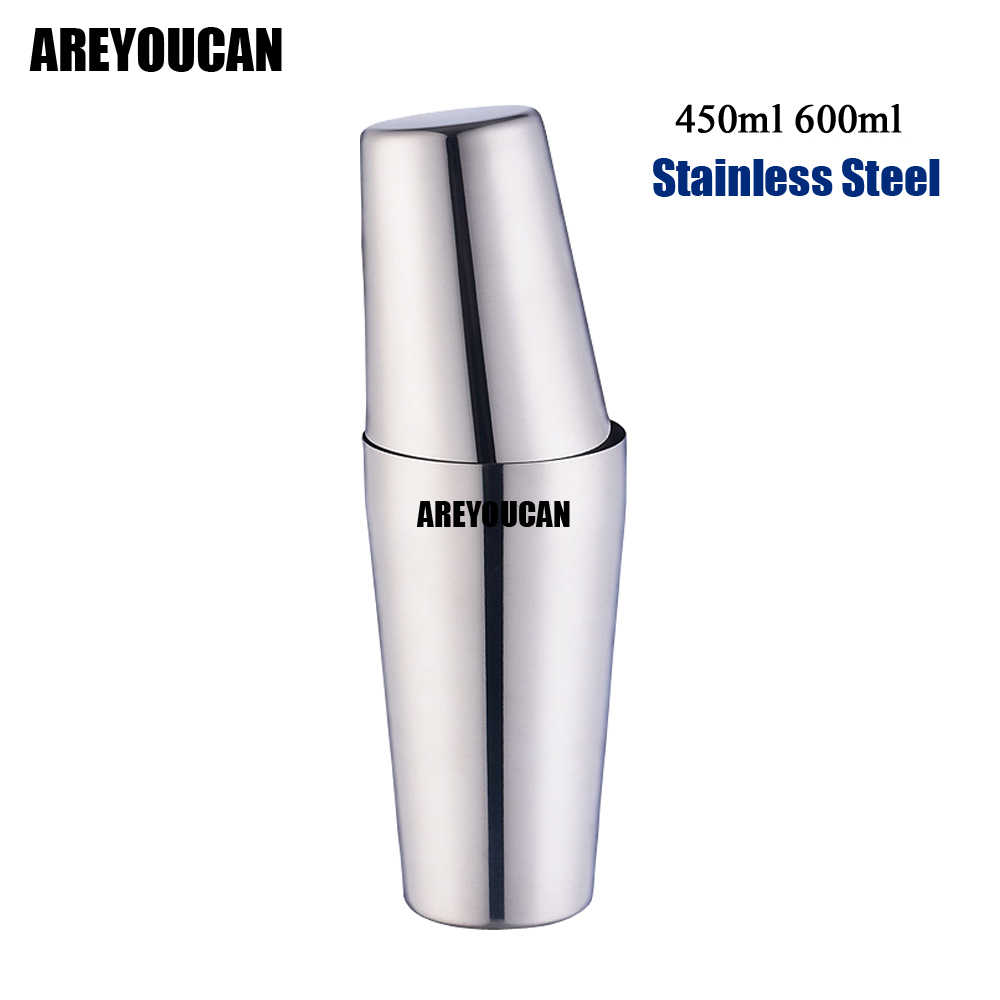 AREYOUCAN 2pcs American Style Boston Shaker Cocktail Shakers 750ml/600ml/450ml Stainless Steel Shaker Cup Bar tool