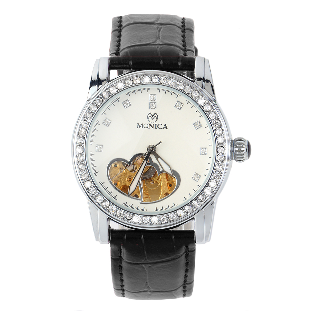 Round Classic Mechanical Analog Watch Love Heart Groove Hollow Design Crystal Dial PU Band Wristwatch relojes mujer New Arrivals cute love heart hollow out bracelet watch for women
