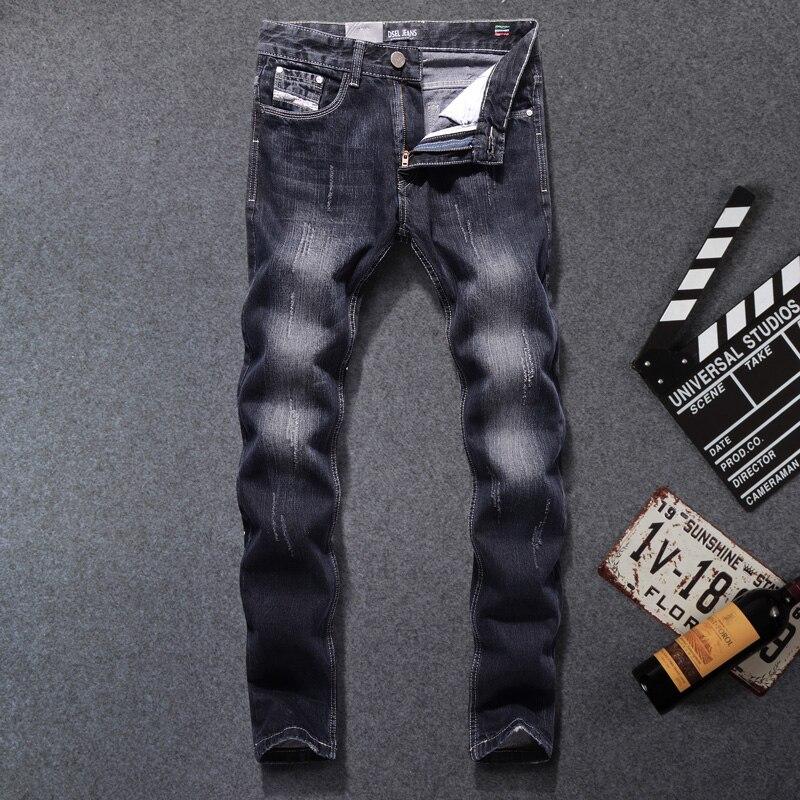 Black Color Denim Men Jeans Scratched Stripe Jeans DSEL Brand Mens Pants Slim Fit High Quality