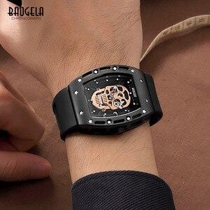 Image 5 - Baogela Fashion Mens Skeleton Skull Luminous Quartz Watches Military Style Black Silicone Rectangle Dial Wristwatch for Man1612