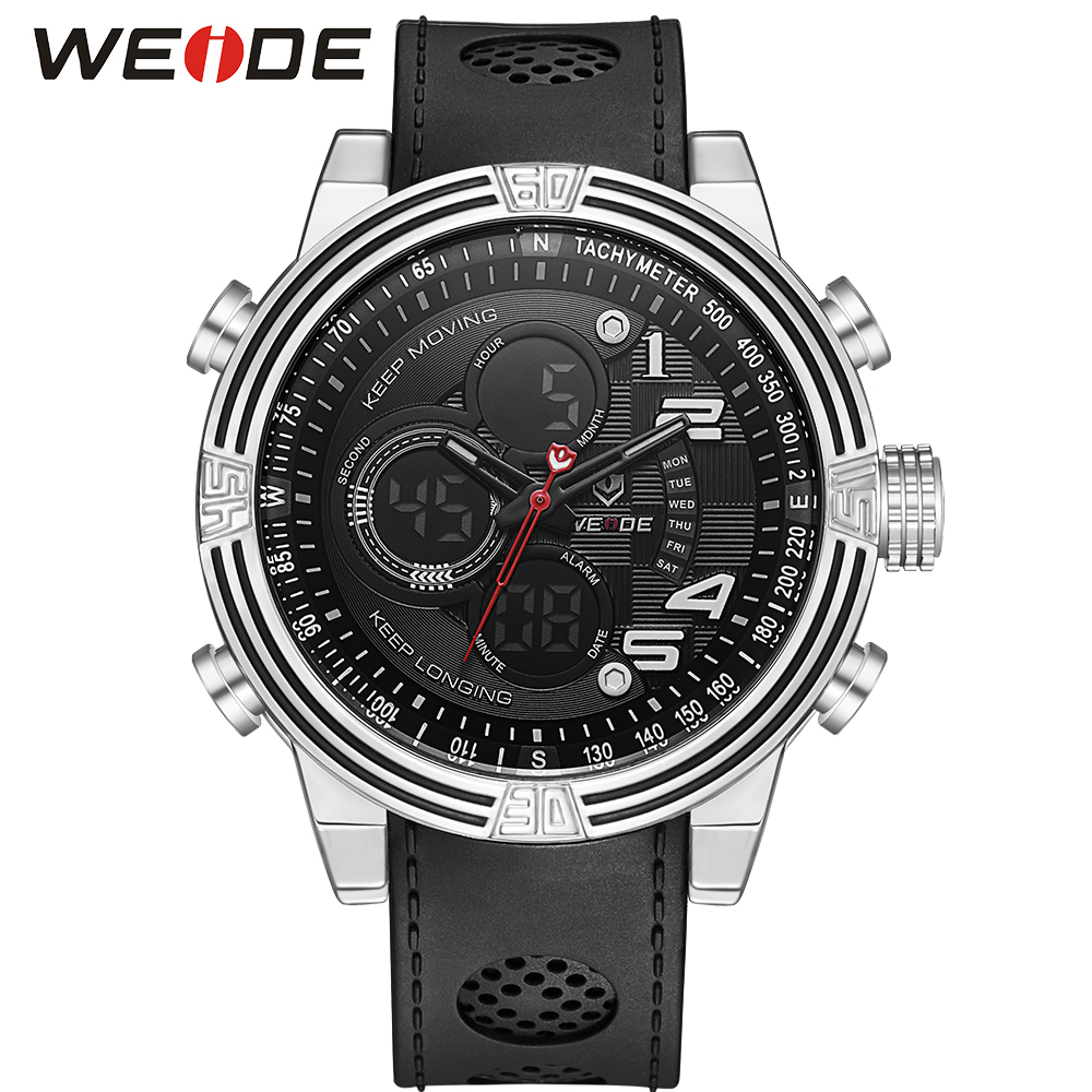 WEIDE Men Back Light Repeater LCD Digital Analog Display Black Watch Quartz Black Silicone Strap Buckle Buckle Date Sport Watch weide men sports watch quartz digital lcd display stopwatch silicone strap buckle date black dial military wristwatches for man