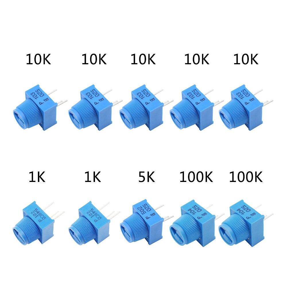 Комплект потенциометра MCIGICM 1K 5K 100K 10K Ом, макетная плата, обшивка потенциометра с ручкой для Arduino