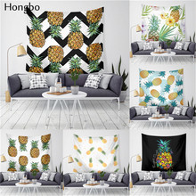 Hongbo Waves Pineapple Fruit Tapestry Polyester Curtains Plus Long Table Cover Wall Hanging Decor