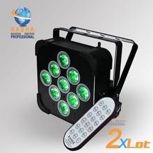 2X Rasha Penta 9 unids * 15 W 5in1 RGBAW Batería Construido En Inalámbrico DMX512 LED Par Plana Puede, con el CENTRO de Control Remoto Inalámbrico