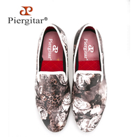 Piergitar 2016 New Style Leopard And Flower Printing Men S Loafers Comfortable Red Cotton Insole Men
