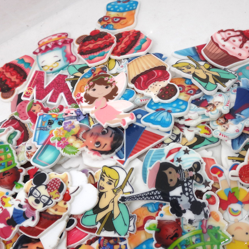 Assorted High quality Cartoon Character Flat Back Plastic planar resin for diy decoration crafts accessories 100pcs/mixed