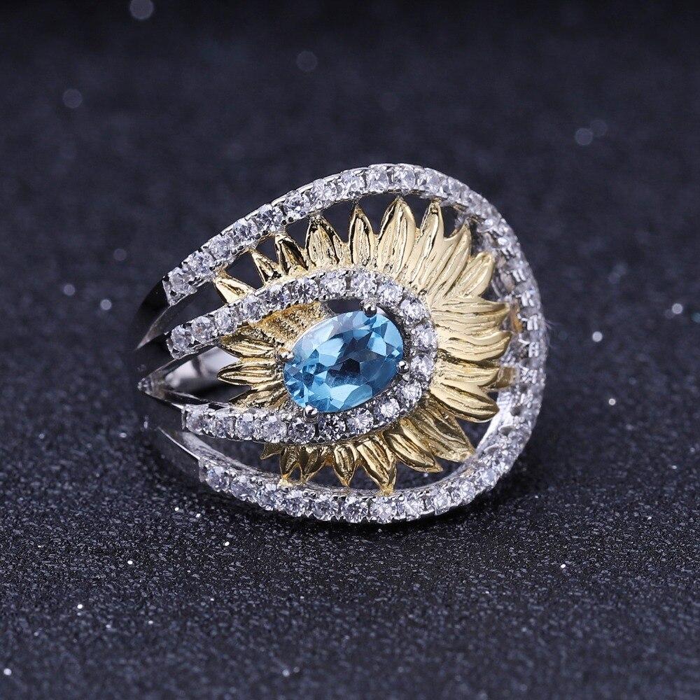 Image 2 - Женское кольцо gembs BALLET, кольцо с подсолнечником из серебра  925 пробы с натуральным швейцарским синим топазом 1,00ctКольца   -
