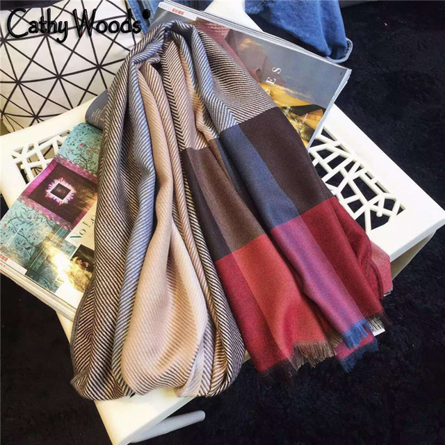 Las Mujeres de la bufanda 2016 Bufanda de Cachemira de la Tela Escocesa Chequeado Manta de Lujo Marca Fulares Chales Stole Jersey Hijab Echarpe Femme hiver