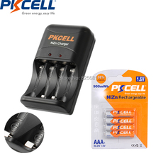 4PCS 1Card PKCELL Battrey NIZN AAA 3a Rechargeable Batteries 900mwh And Battery Charger US EU Plug For 2 To 4Pcs NIZN AA AAA