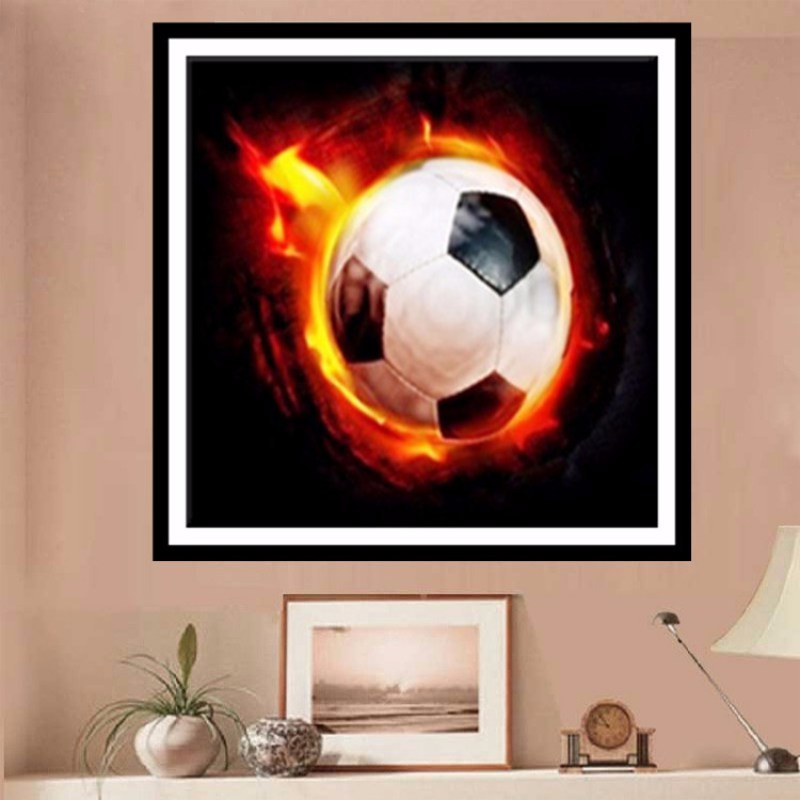 5d Partial Diamond Painting Picture Unfinish Diamond Embroidery Mosaic Round Rhinestone Fire Football Cross Stitch