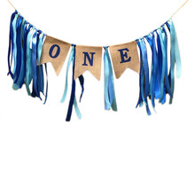 Baby Girl Boy 1st Birthday Party Garland Bunting Baby Shower Decorations Blue Pink Nursery Hanging Banners