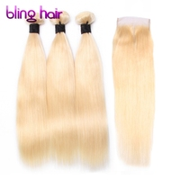 Bling Hair 613 Blonde Brazilian Straight Hair 3 Bundles With Lace Closure Non Remy Human Hair