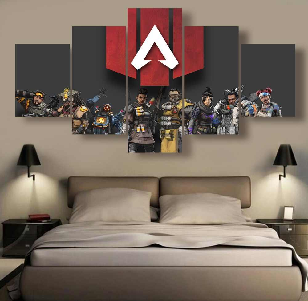 5 Pieces Wall Art Canvas Painting Apex legends Game Painting Canvas Wall Art Picture Home Decoration Living Room Canvas Painting