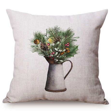 Colorful Nordic Floral Vase Glass Jar Home Sofa Small Fresh Decorative Cushion Cover Chic Purple Flower Cotton Linen Pillow Case M109-6