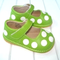 Green with White Polka Dots Squeaky Shoes Free Shipping Baby Leather Shoes 1-3Y Toddler Shoes