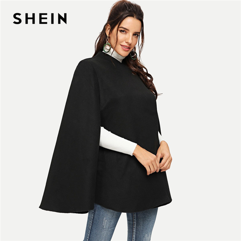 SHEIN Black Highstreet Solid Single Button Cloak Sleeve Oversized Cape Coat Winter Elegant Workwear Women Coat And Outerwear|Wool & Blends| - AliExpress