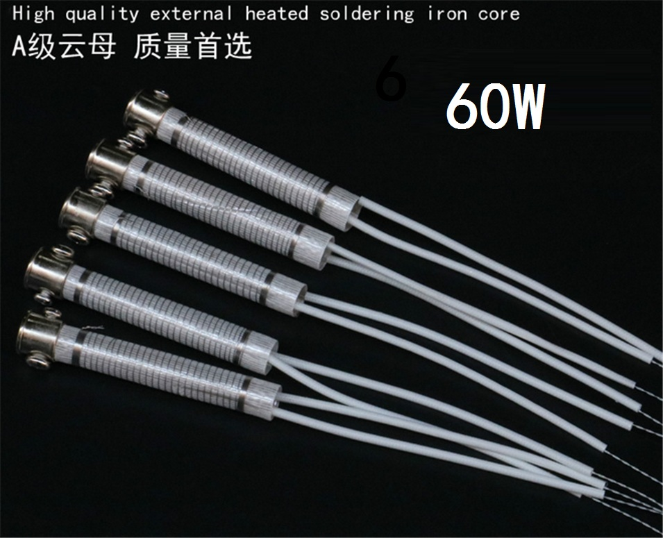 5pcs High Quality 220V 60W Soldering Iron Core Heating Element Replacement Spare Part Welding Tool Electric iron core
