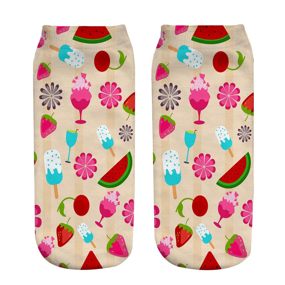 3D Printed Cotton Low Cut Ankle Socks Summer Fruits Printing Toddlars Kids Boy Girl Socks Casual Teens&Adult Sock