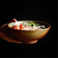 KINGLANG ceramic Stoneware Bowl 7 Inch Green Blue Glaze Color Salad Clay Soup Bowl Big Bowl High Bowl Retro