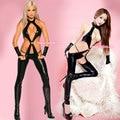 Бесплатная доставка Униформы DS привести танцовщицу сексуальные кожаные брюки открытым промежность кусок комбинезоны чулки подтяжки лакированные брюки p
