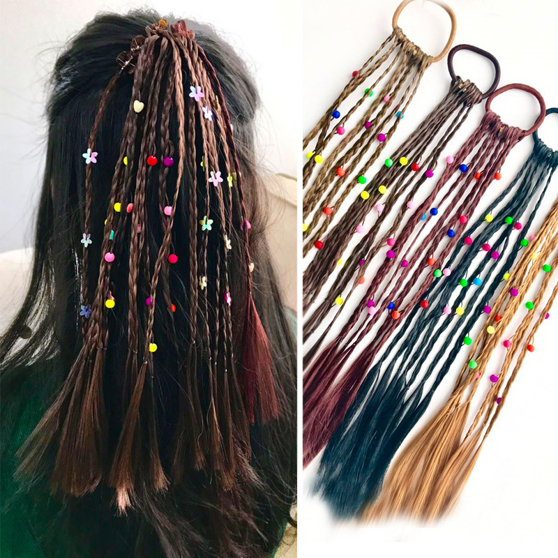 2pc Fashion Children Wig Braids Multi-color Mini Clip Kids Elastics Hair Bands Girl Cute Hair Accessories Korean Style Hair Rope halloween party zombie skull skeleton hand bone claw hairpin punk hair clip for women girl hair accessories headwear 1 pcs