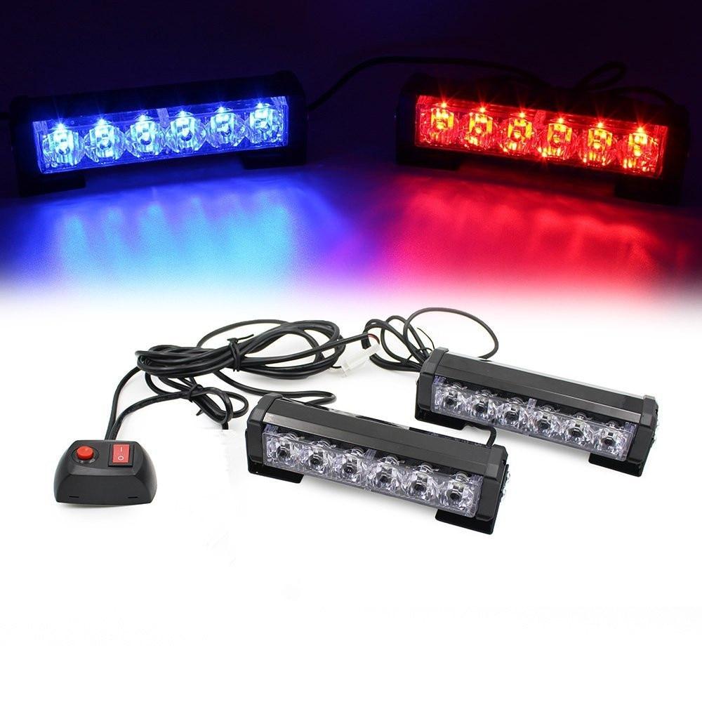2x6LED Car Grille LED Emergency Beacon Light Bar Hazard Strobe Warning Lamp Blue