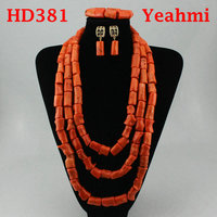 Free Shipping! Luxury Big Costume African Coral Jewelry Sets Champagne Gold Bib Statement Wedding Necklace Set HD381