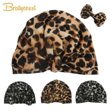 Новая леопардовая детская шапка для девочек с эластичными узелками, детская шапочка-тюрбан для малышей, реквизит для фотосессии, шапка для новорожденного, Детские аксессуары для мальчика