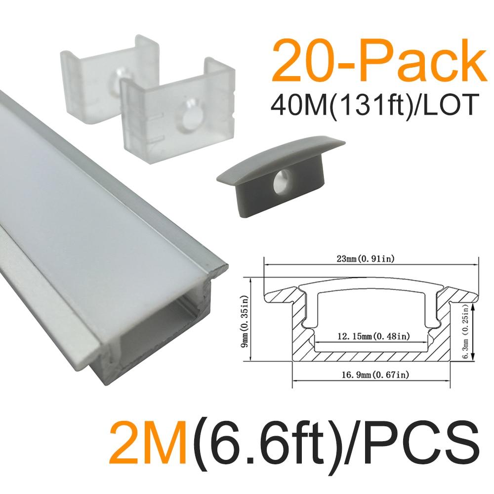 20set / lot 20x2M Stříbrná U tvarovka LED Sada hliníkových - LED Osvětlení