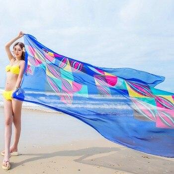 3af68f120ad48 US  3.33. Pareo Scarf Beach Sarongs 140x190cm Women Summer Chiffon Scarves  Geometrical Design