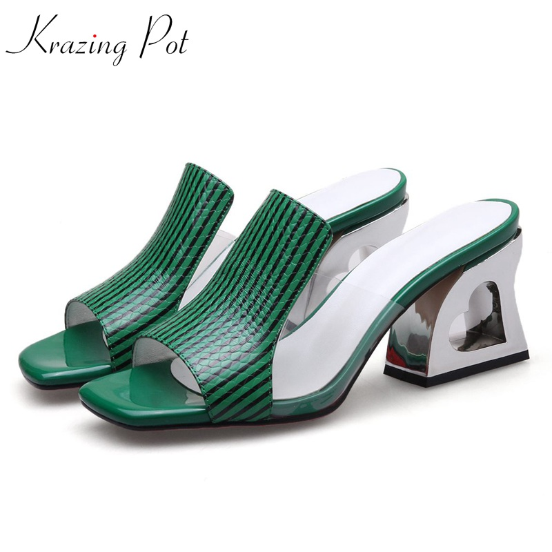 Krazing pot gorgeous cow leather love hollow fretwork high heels women sandals holiday slingback office lady peep toe mules L82 цена 2017