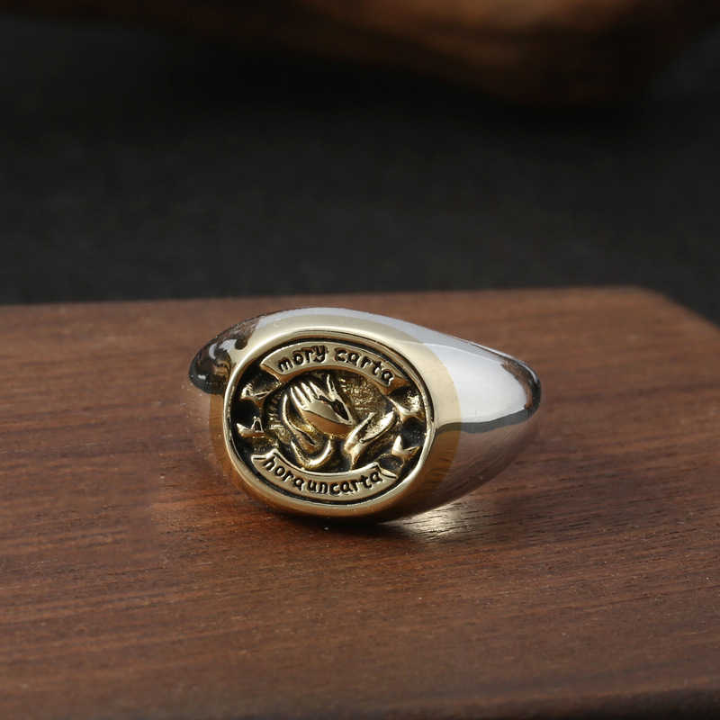 ปรับ Letter สวดมนต์แหวนผู้ชาย 100% 925 เงินสเตอร์ลิง Man เริ่มต้นงานแต่งงานยี่ห้อหมั้นแหวนเครื่องประดับ 2019 ใหม่ r08