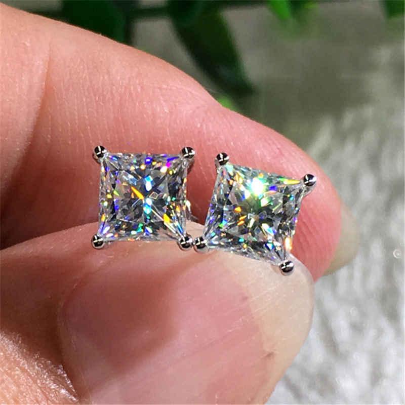 หญิง 6 มม.สีขาวขนาดเล็กหินต่างหูคริสตัลแฟชั่น 925 เงินคู่ต่างหู VINTAGE STUD ต่างหูสำหรับผู้หญิง
