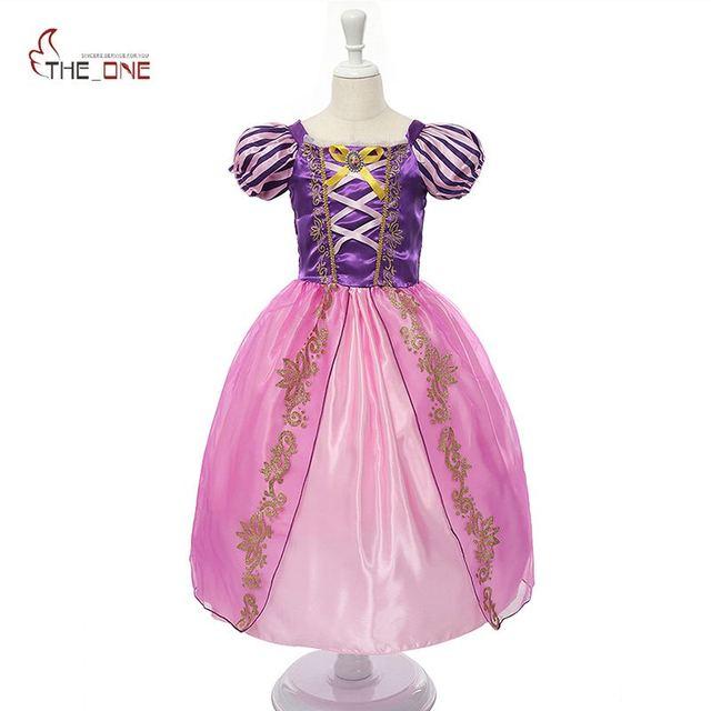 Girls Princess Summer Dresses Kids Belle Cosplay Costume Clothing Children Rapunzel Cinderella Sleeping Beauty Sofia Party Dress