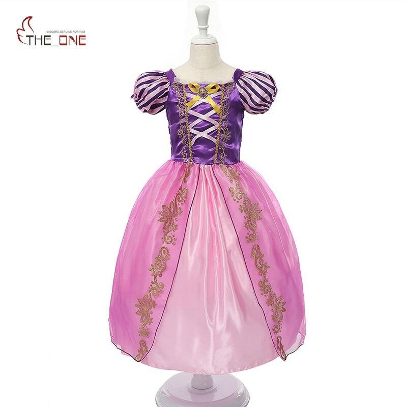 MUABABY принцессы для девочек летние платья Дети Belle Косплэй костюм дети Рапунцель Золушка Спящая Красота Софии вечерние платье