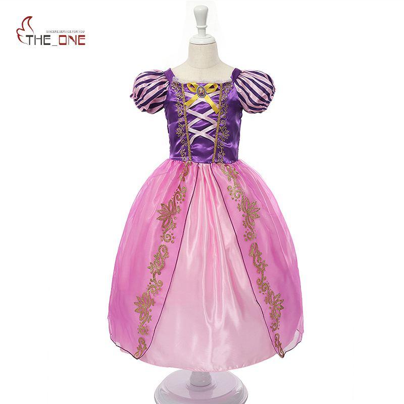 MUABABY Filles Rapunzel Robe Up Enfants Blanche-Neige Princesse Costume Enfants Cendrillon Aurora Sofia Halloween Party Cosplay Robe