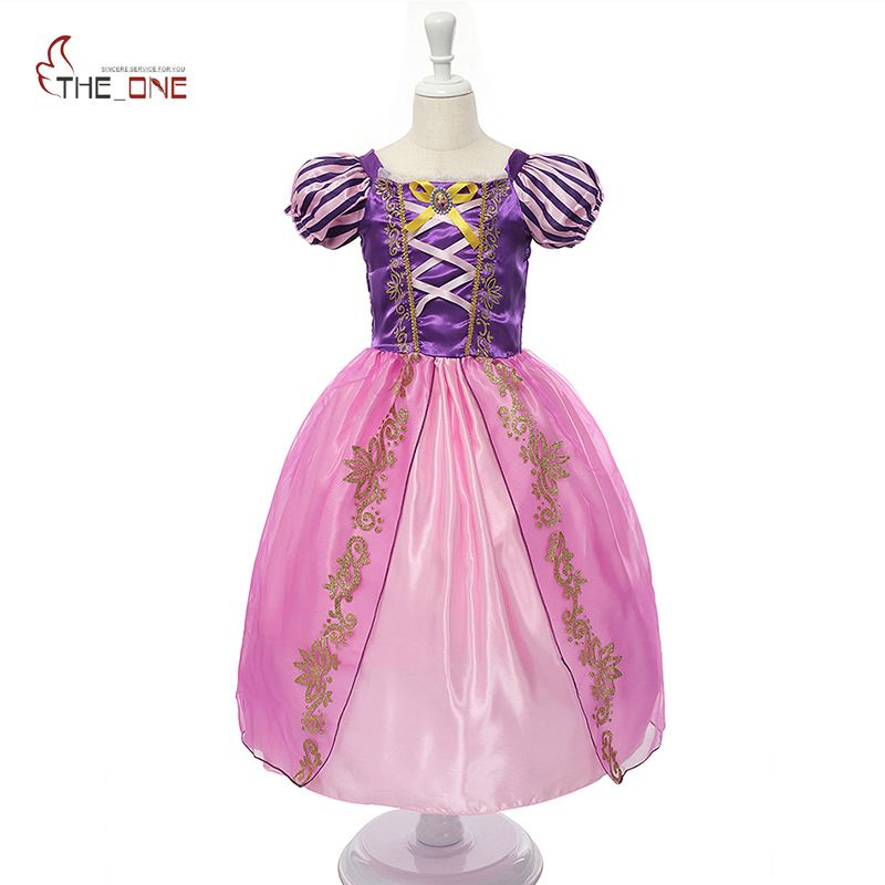 MUABABY Girls Princess Summer Dresses Kids Belle Cosplay Costume Children Rapunzel Cinderella Sleeping Beauty Sofia Party Dress