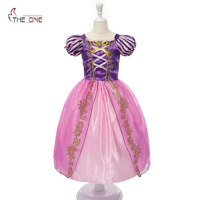 MUABABY Girls Rapunzel Dress Up Kids Snow White Princess Costume Children Cinderella Aurora Sofia Halloween Party Cosplay Dress